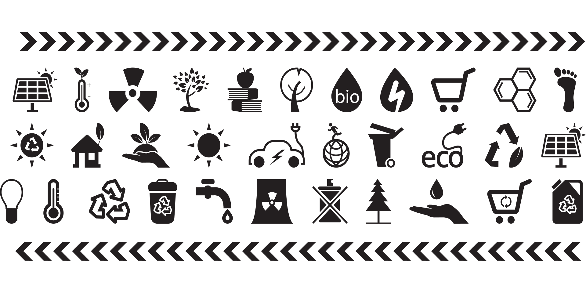 A selection of ecology icons displayed over 3 rows